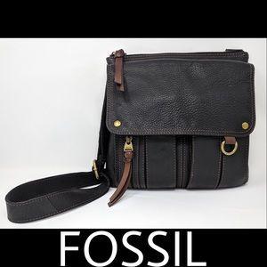 Fossil Pebbled Leather Crossbody Black & Brown EUC